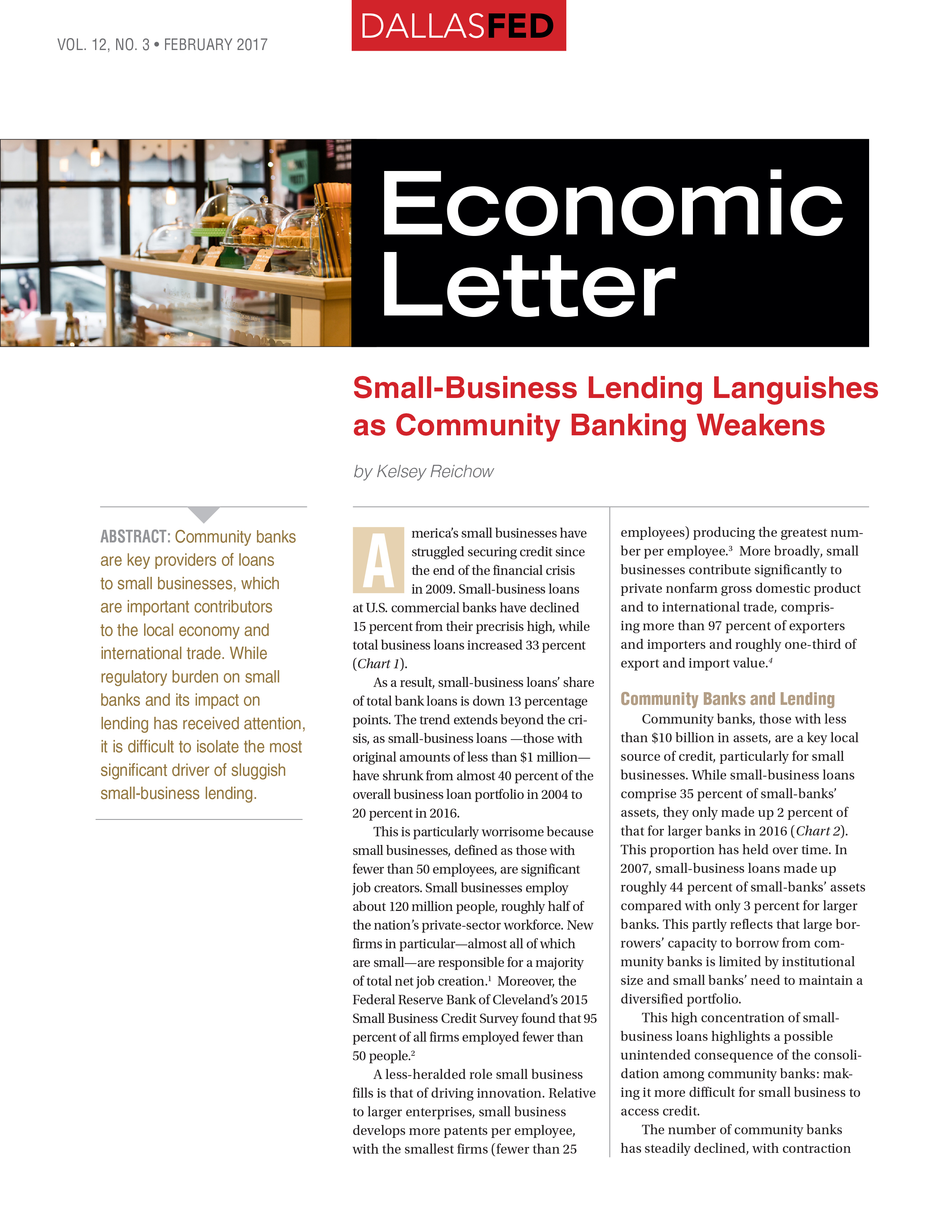 Small-Business Lending Languishes as Community Banking Weakens
